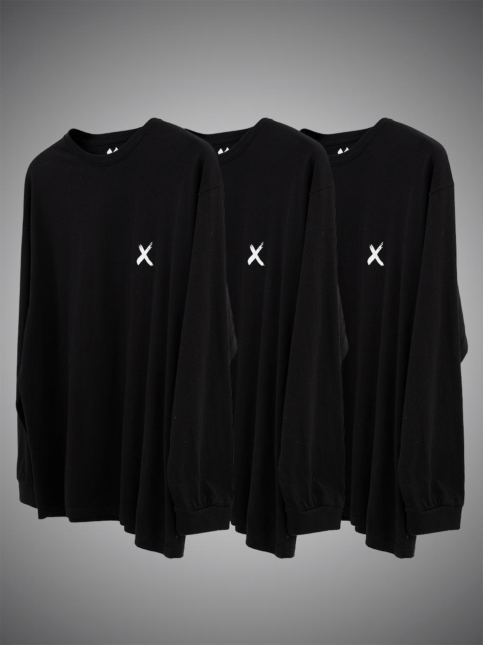 Zestaw 3 Koszulek Z Długim Rękawem Point X Mini X Czarny
