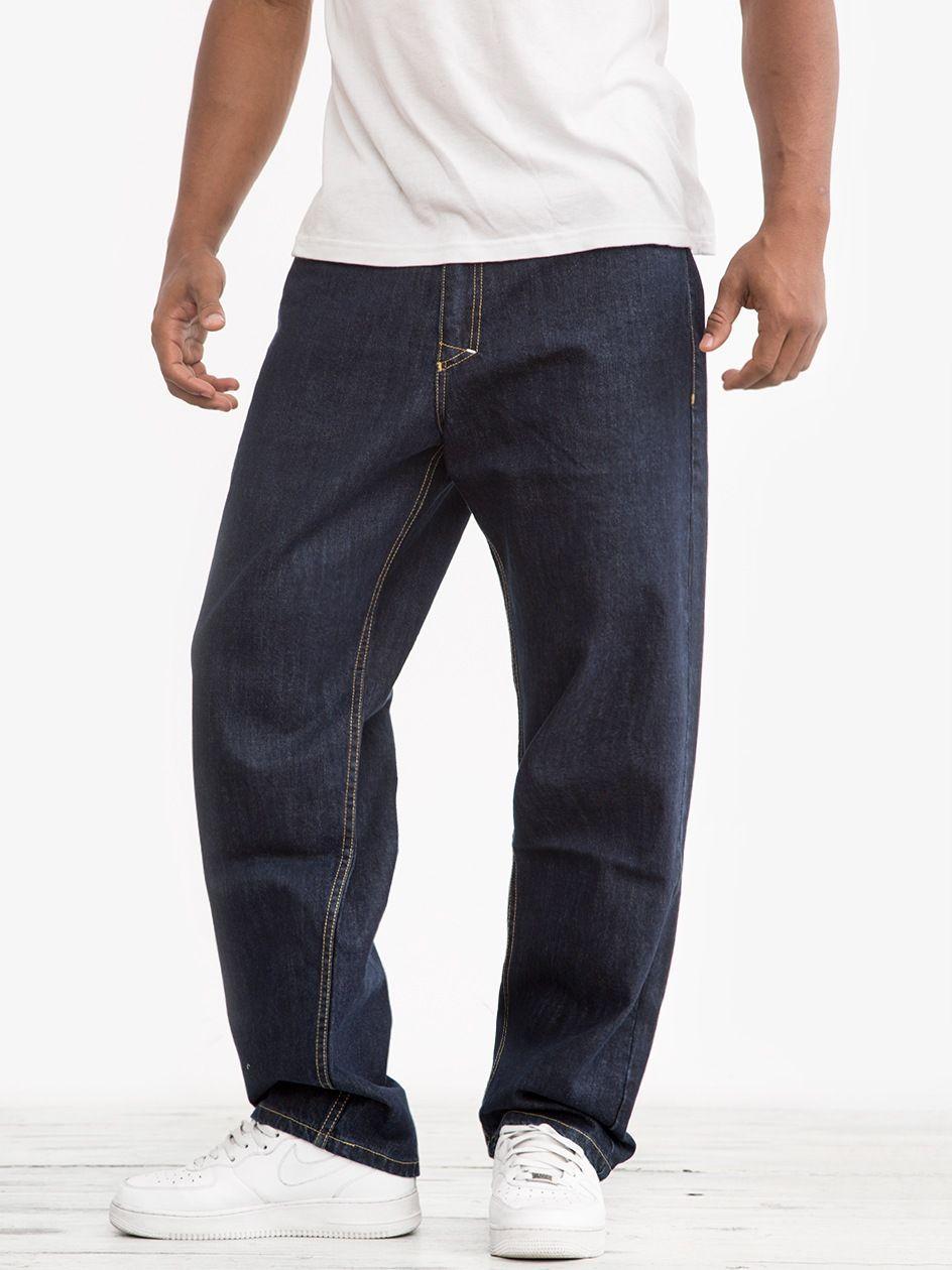 Spodnie Jeansowe Baggy Mass Slang Sprane Ciemne Niebieskie