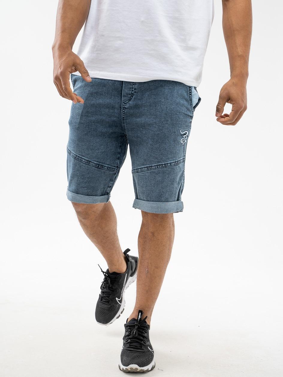 Krótkie Spodenki Jeansowe Ze Ściągaczem Grube Lolo Smoke Niebieskie Marmurkowe Z Przeszyciami