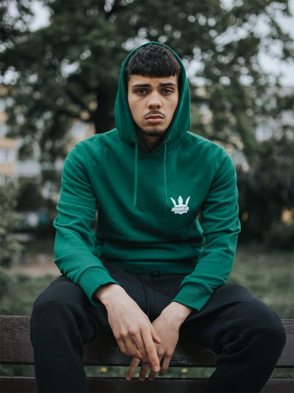 Bluza Z Kapturem Jigga Wear Crown Butelkowa Zielona